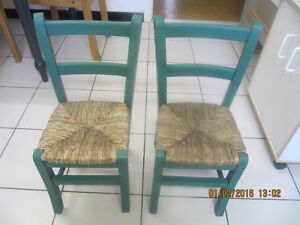 VintageSetOfTwo SolidWood/Straw EuropeanStyle Kids Chairs 1970s