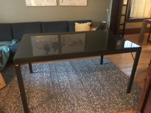 EQ3 Dark Brown Glass Top Dining Room Table