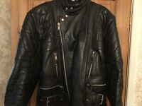 Vintage Retro Black Leather Motorbike Jacket