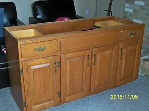 oak vanity cabinet and tall cabinet