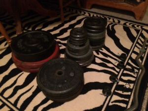 Barbell, Dumbbells, Ez Bar, 450 pounds of iron weight plates