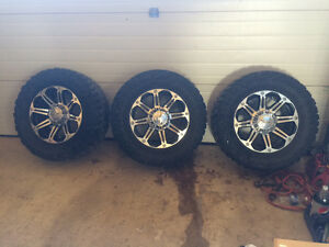 """For sale 33"""" toyo open country mt tires and 18"""" rims"""