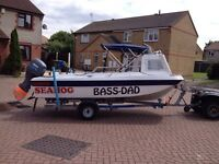 Seahog shortie fishing boat 50hp four stroke roller coaster trailer must see probably best for sale