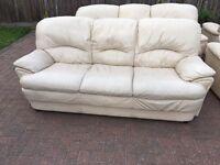 4 matching cream leather sofas