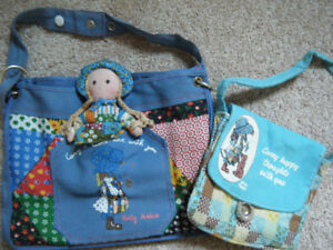 2 Vintage Holly Hobbie shoulder bags with small doll