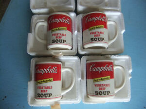4 collectable campbells vegetable soup mugs in exc cond