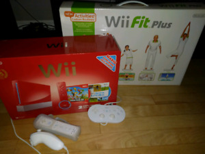 Nintendo Wii - Red Edition + Wii Fit + Pro Controller + Games