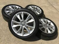 "GENUINE AUDI 17"" A3/A4 ALLOYS W/6-7mm TYRES VW T4 GOLF CADDY PASSAT TOURAN SHARAN SEAT SKODA"