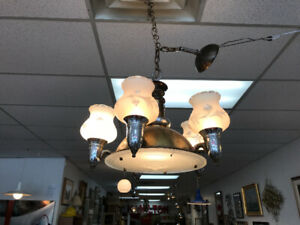Art deco nouveau hanging chandelier lamp light antique vintage