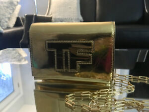 TOM FORD AUTHENTIC ''TF'' CHAIN BAG IN GOLD W/ AUTHENTICITY CARD