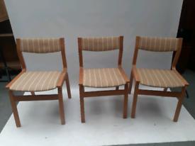 Vintage retro Danish mid century wood stripy wool kitchen dining chair