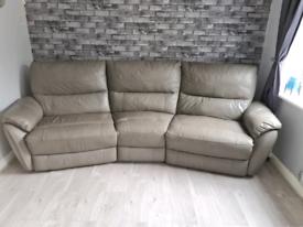 Grey reclining leather sofa