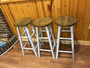 Three Bar Stools, professionally refinished. One of a kind!