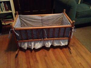 Antique Cradle with Custom Bedding