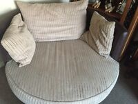 Brown/beige sofa and swivel chair