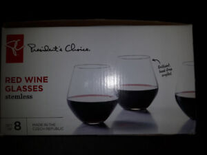 Lead free, stemless, Czech red wine glasses