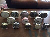 Job lot of vintage westclox alarm clocks x13