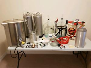 Homebrew beer brewing kit