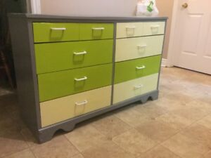 delivery included- newly refinished solid wood 8 drawer dresser