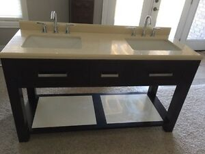 Double sink marble vanity with taps