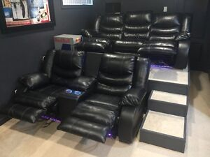 Leather power theatre seats