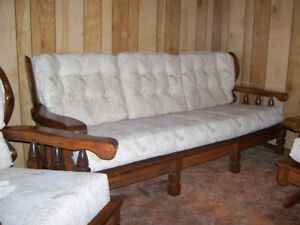 Pine Chesterfield/Couch set with 2 chairs
