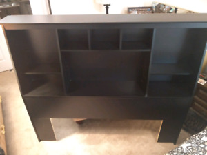 EUC Black Queen Size Storage Headboard