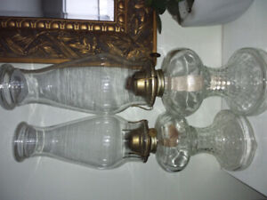 2 very good condition glass hurricane Eagle lamps