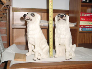 Pair of Porcelain Painted Dogs