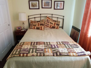 CONDITIONALLY SOLD - Queen Bed w/ new Antique style headboard