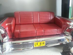 CUSTOM COUCH, RED LEATHER 1958 BUICK CENTURY
