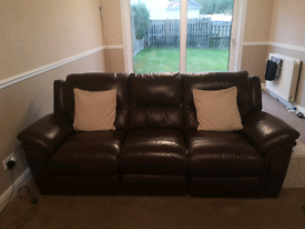 Brown leather reclining sofa & electric reclining armchair