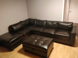 Faux leather sectional with ottoman $300
