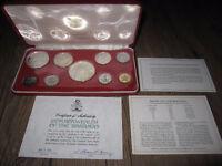 1974 Bahamas Proof Silver 9 Coin Set, COA and Case