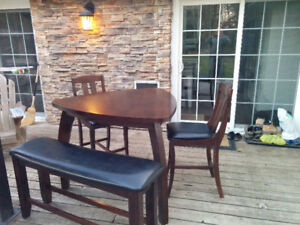 Solid wood dining table with 2 chairs and a bench