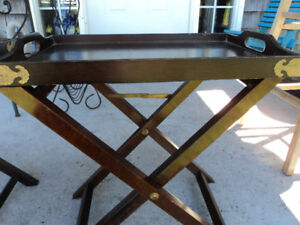 Two Vintage Wooden Folding Tables