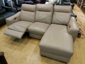 FREE DELIVERY cream/beige leather electric recliner corner sofa