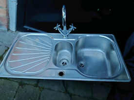 Kitchen sink, strainer, draining board and mixer tap for sale.