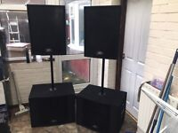 Peavey pro 15 x2 and peavey pro subs x2 inc 2 satellite poles