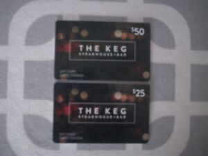 Keg gift cards $75.00 value for $60 price firm//firm