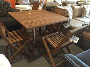 5 piece outdoor patio dining set, 4 folding chairs table