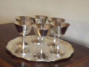 Silver Platter and Wine glasses
