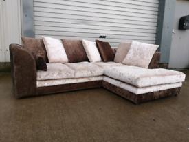 Crushed velvet corner sofa couch suite 🚚🚚