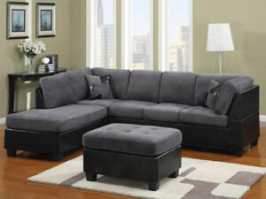 DEALS ARE BACK!!! GREY AND BLACK LEATHER SECTIONAL SOFA FOR 699$