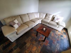 DOLCE genuine ITALIAN cow hide leather,cream modular lounge $890