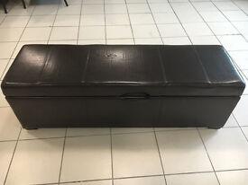 Dark Brown Leather ottoman storage boxes 135cm wide