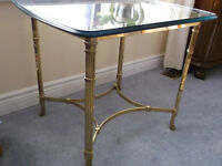 SOLID BRASS AND PLATE GLASS TABLE