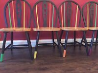 Trendy, cool, farmhouse style chairs, hand painted. £35 each