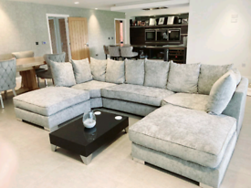 Silver Fox Chenille Elizabeth U-Shape Corner Sofa