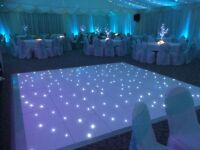 Starlit dance floor, love letters, photo booth wedding hire